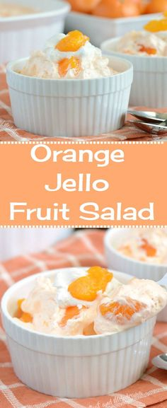 Orange Jello Fruit Salad - An easy retro side dish or dessert made with cool whi. - Orange Jello Fruit Salad - An easy retro side dish or dessert made with cool whi. Jello With Cool Whip, Recipes With Cool Whip, Cool Whip Desserts, Jello Desserts, Jello Recipes, Easy Desserts, Easy Potluck Recipes, Pudding Desserts, Jello Fruit Salads