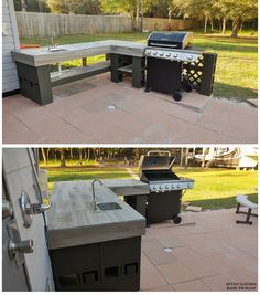 This is a easy built outdoor kitchen with a sink and a bbq. The stones are 16x16. The cabinet is made from cinder block, 4x4 pressure treated wood for support and tile from the clearance section. The sink and faucet was $100, bbq with side burner is around $170. Takes about 3 weekends to complete because of the all tile work, area was about 18'x26'.