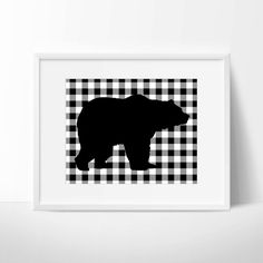 BEAR PRINTABLE ART  featuring a black bear silhouette on a white and black buffalo plaid background. It is perfect for everything from gift
