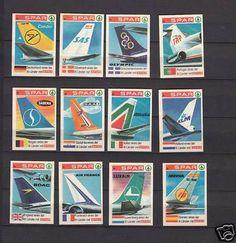 Série étiquettes Allumettes Allemagne Avions Air France