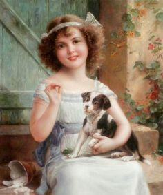 """The Athenaeum - """"Waiting for the Vet"""" - (Emile Vernon - french painter - No dates listed)"""