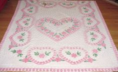 Shabby Vintage Chic PINK HEART FLOWER Chenille KING Bedspread Craft,Quilt CUTTER