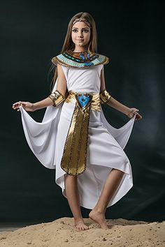 Kids Girls Cleopatra Halloween Costume Egyptian Princess Dress Up & Role Play (6-8 years)