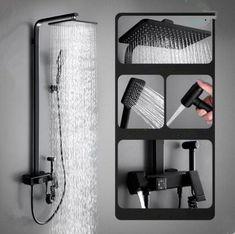 Antique Black Brass & ABS Bathroom Shower Tap With Bidet Tap TF0689B Shower Taps, Shower Set, Waterfall Taps, Brass Shower Head, Plating Techniques, Water Spout, Black Shower, Rainfall Shower, Bath