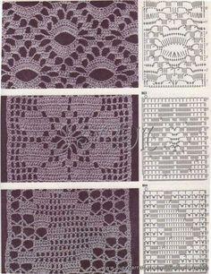 Mostly filet crochet variations. Crochet Stitches Chart, Filet Crochet Charts, Crochet Motifs, Crochet Borders, Crochet Diagram, Crochet Squares, Thread Crochet, Love Crochet, Crochet Doilies