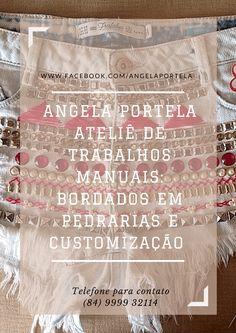 """the poster """"Angela portelaAteliê de trabalhos manuais:Bordados em pedrarias e customização"""""""