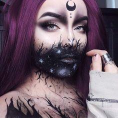 Witchy Makeup, Halloween Makeup Witch, Creepy Makeup, Amazing Halloween Makeup, Gothic Makeup, Halloween Looks, Dark Fantasy Makeup, Simple Witch Makeup, Sfx Makeup