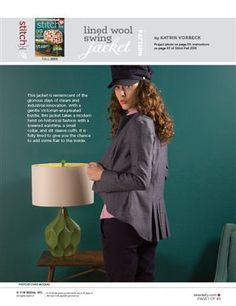 Pattern: Lined Wool Swing Jacket - Media - Sew Daily (pattern pieces only, instructions in printed mag)