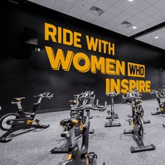 Home Gym, Ride With Women Who Inspire, Fitness, Cycling, Women, Gym Design Ideas, Spinning, Women Quotes, Girl Power, Gym Quotes, Gift Gym Design, Design Ideas, Wall Stickers, Wall Decals, Gym Decor, Gym Quote, White Vinyl, New Wall, Textured Walls