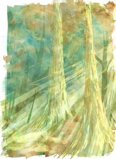Twin Trees Forest Illustration 8.5 x 11 by LemonWatercolor on Etsy, $14.00 #art #illustration #colorfulart #nature #colorful #whimsical #adventure