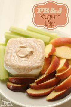 PB Greek Yogurt Dip - a healthy, easy to make snack with only 3 ingredients!