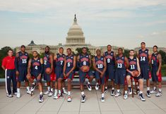 The 2012 U.S. Olympic basketball team in front of the White House.