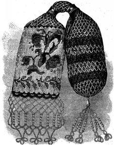 BRIDAL PURSE, IN CROCHET. Vintage Pattern Beaded