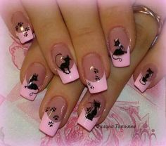 Pink Cat Nails Picture from Nail Designs. Cat Nail Art, Pink Nail Art, Cat Nails, Pink Manicure, Black Nail Designs, Nail Art Designs, Nails Design, Valentine Nail Art, Funky Nails