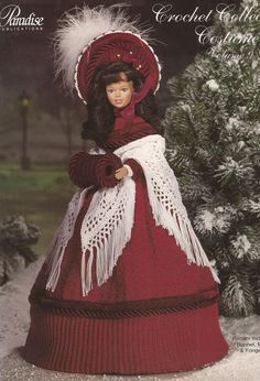 1850 Dickens Christmas Caroler - Crochet Collector Costume Vol. 9 Paradise Crochet Pattern Booklet P-019 for Barbie sized Fashion Doll