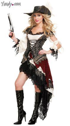 Hidden Treasure Pirate Costume, Deluxe Female Pirate costume, Velvet Pirate Costume