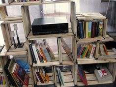 old wood bookshelves
