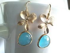 Lucky flower with Ocean Blue Gold Earrings  Lovely by LaLaCrystal, $23.00