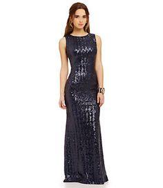 66ff8c95e3a Jump High Neckline Glitter Slinky Long Dress  Dillards