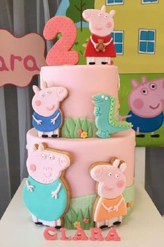 Loving the birthday cake at this cute Peppa Pig birthday party! See more party ideas and share yours at CatchMyParty.com