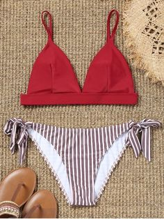 So sweet and cute, the bikini features a triangular swim bra with a removable padded cup, adjusted cami straps in a moderate fit. Striped pattern swim bottoms featuring a tie side construction for an adjusted perfectly fit with the low waisted design. #Zaful #Swimwear #Bikini