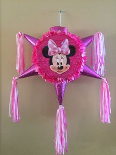 Items similar to Minnie Mouse Star Pinata on Etsy Minnie Mouse Pinata, Minnie Mouse Birthday Decorations, Minnie Mouse Theme, Mickey Birthday, Mickey Party, 2nd Birthday Parties, Homemade Pinata, Star Pinata, Barbie Party