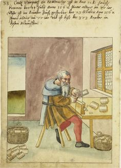 Images of various trades, 1500s. This image is a comb-maker.