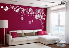 Vinilos Decorativos: Gran Floral con Mariposas #decoracion #teleadhesivo