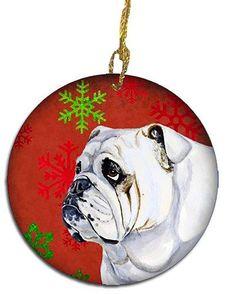49290c9ddb2 Christmas Decorations Carolines Treasures LH9319CO1 Bulldog English Red  Snowflake Holiday Christmas Ceramic Ornament Multicolor --