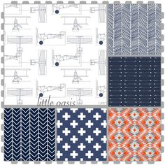 Nursery Starter Set Navy Blue Airplane Arrow Plus Chevron Prints. Create An…