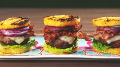 130  Most Delish Things in the Grill :: Pineapple Bun Burgers Horizontal