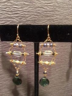 Tsvorite & Aquamarine Chandelier Earrings Chandelier Earrings, Drop Earrings, Artisan, Gemstones, Beauty, Beautiful, Jewelry, Design, Fashion