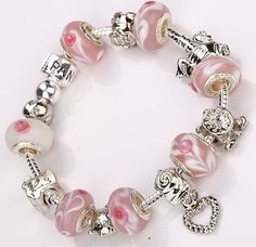 20% OFF Pink Beaded 925 Silver Charm Bracelet - Only $15.95 with free delivery