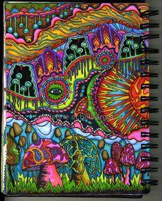 Trippy Drawings, Psychedelic Drawings, Cool Drawings, Hippie Painting, Trippy Painting, Arte Hippy, Psychadelic Art, Stoner Art, Mushroom Art