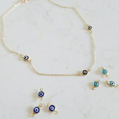 Choker Length Evil Eye Necklace. Dainty Evil Eye Layering