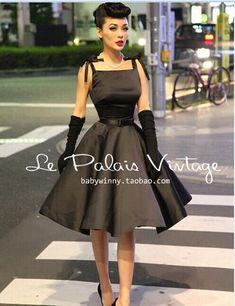 "Le Palais Vintage Retro ""Classic Hepburn"" Silk High Waist Puff Black Dress"