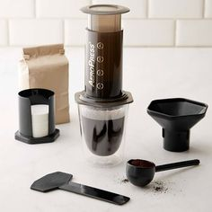 Williams Sonoma Aeropress Coffee Maker This is a great coffee maker. The coffee is smooth and it doesn't take long to brew. Great gift for a coffee person. Coffee Thermos, Coffee Brewer, Coffee Pods, Coffee Drinks, Coffee Beans, Espresso Coffee, Coffee Percolator, Coffee Tumbler, Iced Coffee