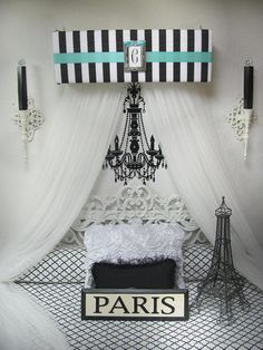 Bed Canopy Crown TIFFANY Blue French Paris Princess Valance Black And White Girl, Black White Stripes, Blue And Silver, Custom Canopy, Diy Canopy, Bed Canopies, Bedroom Themes, Bedroom Colors, Silver Centerpiece
