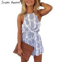 Simplee Vestuário 2016 estilo Verão azul da cópia floral das mulheres jumpsuit romper Sexy strap backless paysuit arco Ocasional macacão de praia