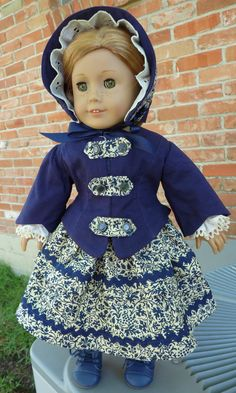 """18"""" Doll Clothes 1850's Civil War Style Jacket and Bonnet Fits American Girl Cecile, Marie Grace, Addy"""