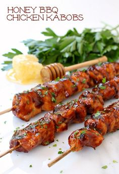 Grill up these sticky and sweet chicken kabobs for dinner tonight! #SwansonSummer #ad