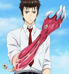 Izumi Shinichi - Kiseijuu: Sei no Kakuritsu- his character's personality transformation was awesome. It reminded me of Yuki from Mirai Nikki only difference was that Izumi embraced it earlier and was more bad ass when pushed past his limit.