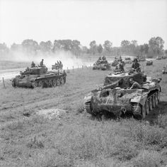 Cromwell tanks assembled for Operation 'Goodwood', 18 July 1944.