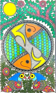 Indian Traditional Paintings, Indian Art Paintings, Madhubani Art, Madhubani Painting, Kalamkari Painting, Acrylic Painting Canvas, Watercolor Paintings, Indian Folk Art, Art Drawings For Kids