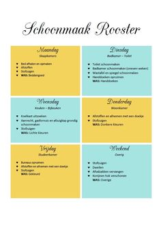 Mijn Schoonmaak Routine – SilkeBouwes.nl Agenda Planner, Life Planner, Getting Rid Of Clutter, Getting Organized, Diy Cleaning Products, Cleaning Hacks, Housekeeping Tips, Speed Cleaning, Organization Hacks