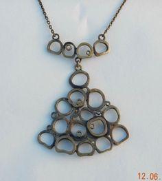 Pentti Sarpaneva Bronze Pendant Necklace Finland Modernist Brutalist C. 1970
