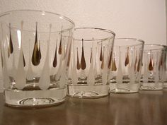 MID CENTURY Glasses GOLD and White  Geometric by LaFemmeModerne, $36.00