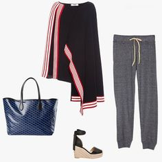 MSGM Regimental Plisse Knit Poncho, $590, modaoperandi.com; Nation Ltd. Medora capri summer sweats, $76, nationltd.com; Raye Dahlia espadrille wedges, $190, revolve.com; Rochas printed tote bag, $700, shopsuperstreet.com