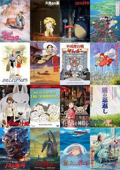 All the Studio Ghibli Movies released, in order.  Castle in the Sky - Grave of Fireflies - My Neighbor Totoro - Kiki's Delivery Service - Only Yesterday - Porco Rosso - Pom Poko - Whisper of the Heart - Princess Mononoke - My Neighbors the Yamadas - Spirited Away - The Cat Returns - Howl's Moving Castle - Tales from Earthsea - Ponyo - Arrietty - From Up the Poppy Hill