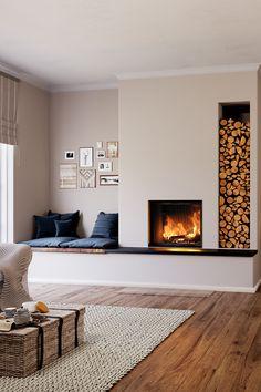 Home Room Design, Home Interior Design, Living Room Designs, Home Fireplace, Fireplace Design, Home Living Room, Living Room Decor, House Rooms, New Homes